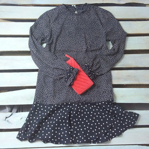 Zara Dress Drop Waist Polka Dot Navy Blue / Tan